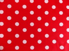 Red with 22mm White Spot 100% Cotton Fabric